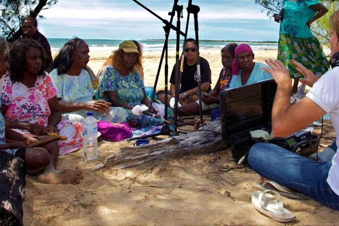 Tim Cole recording with the Song Women of Borroloola