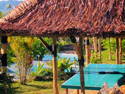 Les-Cottages-de-Bellevue-Eco-Lodge-Green-House-Accommodation-Property-Management-Vanuatu-Outdoor-Games-Area-Near-Pool-16-degrees-south